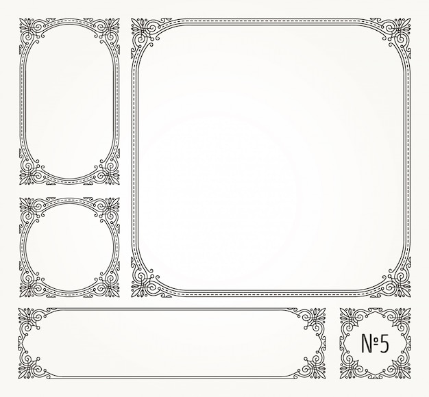 Set of flourishes calligraphic elegant ornamental frames and borders -  illustration.