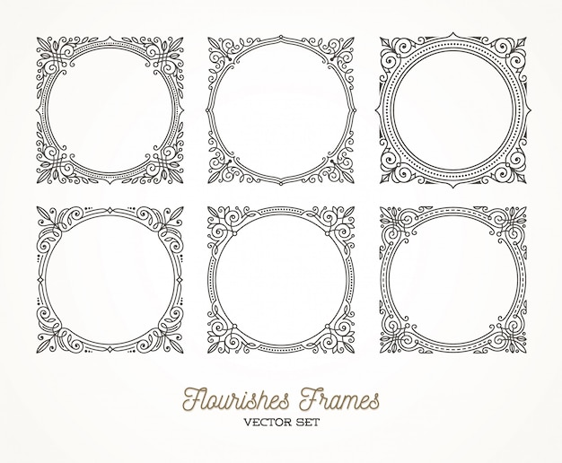 Set of flourishes calligraphic elegant ornamental frames -  illustration.
