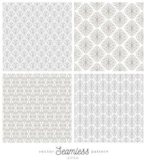 Set of flourishes seamless pattern backgrounds