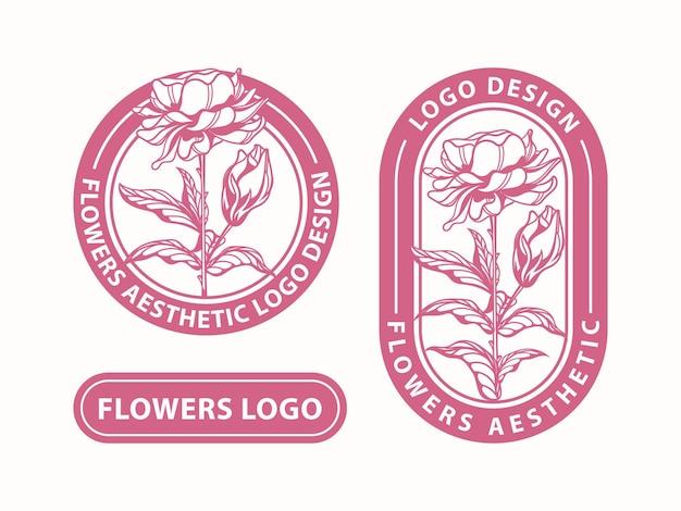 Установить цветочный эстетический дизайн логотипа
