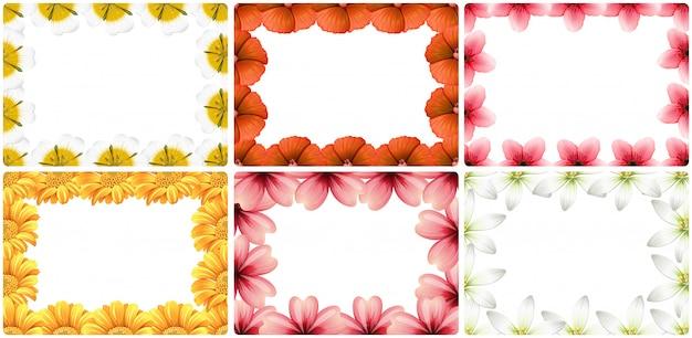 Set of flower border