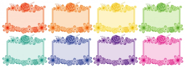 Set of flower frames in different colors