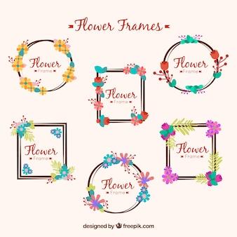Set of flower frames