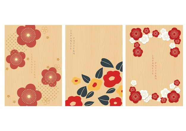 Set of flower icons with japanese background with wood texture vector. cherry blossom flower pattern on vintage style.