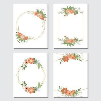 Set of flower and leaf frame.