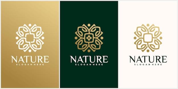 Set of flower leaf logo template