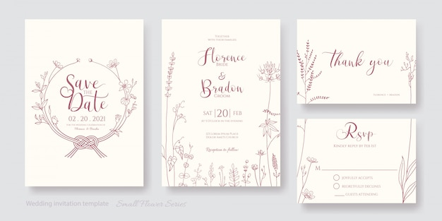 Set of flower line art invitation card, save the date, thank you, rsvp template.
