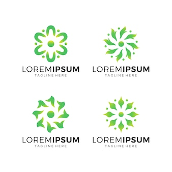 Set of flower logo collection green color