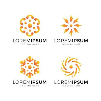 Set of flower logo collection orange color