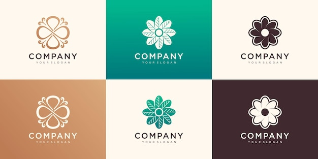Set of flower logo design template