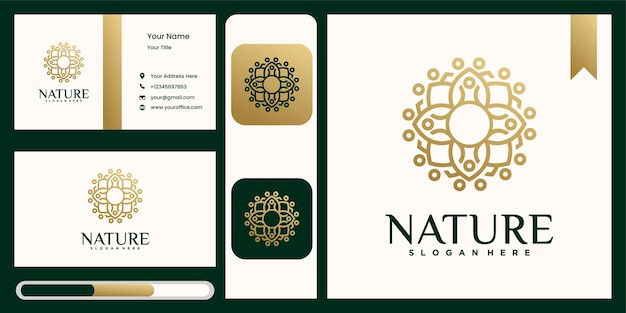 Set of flower logo template with business card