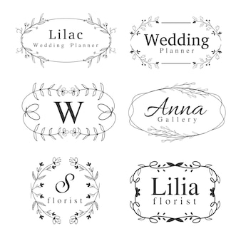 Set of flower logos template with handdrawn swirl, border frame, and greenery for wedding