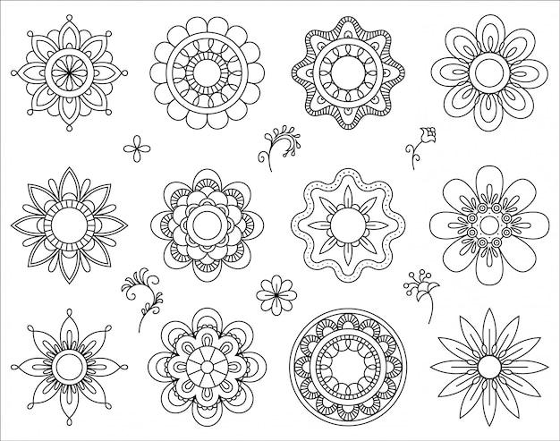 Set of flower mono line icons.