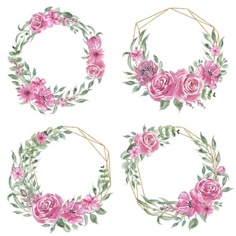 Set of flower pink watercolor wreath and geometric gold