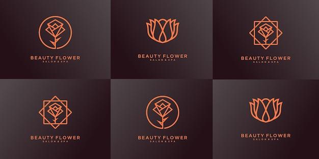 Set of flower, rose, lotus, flourish logo design templates.