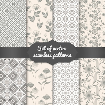 Set of flower seamless pattern backgrounds. elegant textures for backgrounds, wallpapers etc.