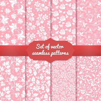 Set of flower seamless pattern backgrounds.