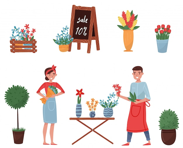 Set of flower shop elements. cute plants for home decor, blooming flowers, florists man and woman