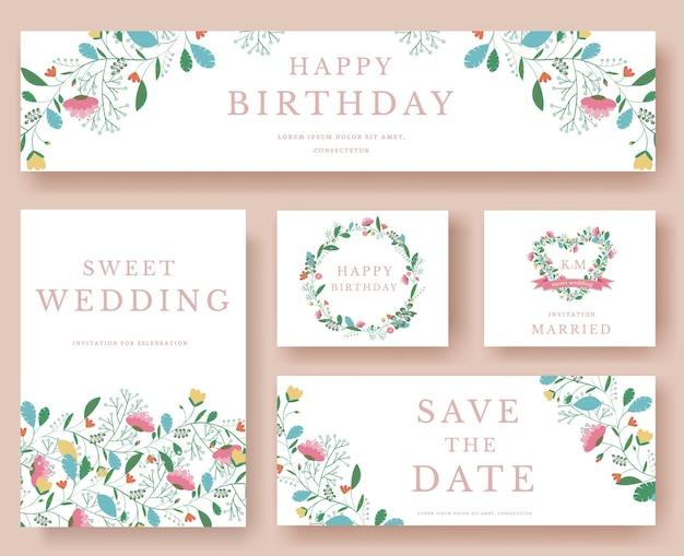 Set of flower wedding and birthday ornament