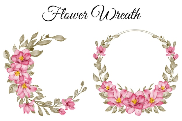 Set of flower wreath pink watercolor illustration