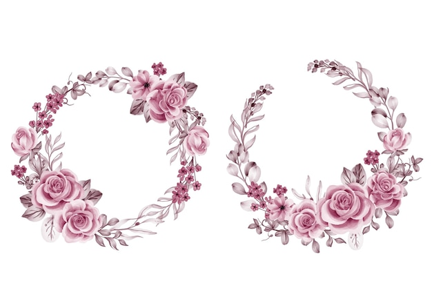 Set of flower wreath rose pink gold and leaves