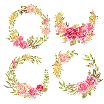 Set of flower wreath watercolor pink romantic soft