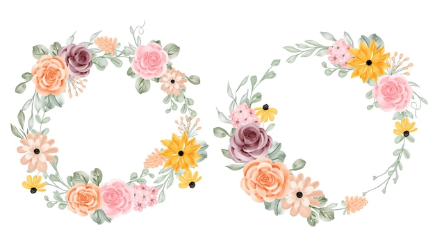 Set of flower wreath with rose and leaves