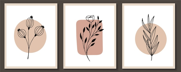 Set of flowers continuous line art modern art frame