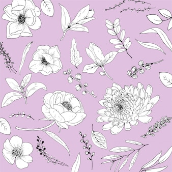 Set flowers line art premium