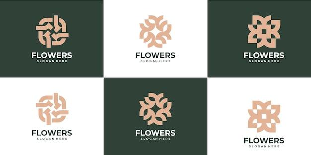 Set flowers monoline logo luxury