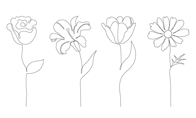 Set of flowers. one line drawing style.