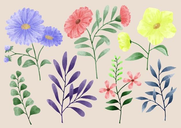 Un insieme di fiori dipinti con acquerelli per accompagnare varie carte e biglietti di auguri.