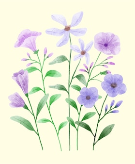 Un insieme di fiori dipinti con acquerelli per accompagnare varie carte e biglietti di auguri