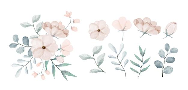 Un insieme di fiori dipinti con acquerelli