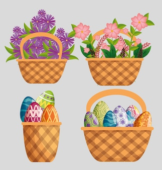 Set flowers plants with leaves and eggs decoration inside basket