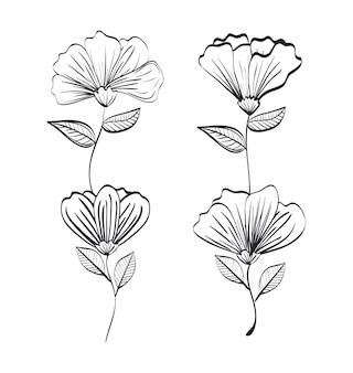 素朴な装飾と単色の装飾を施した花