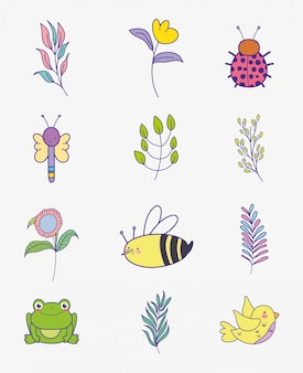 Set flowers with branches leaves and insects animals