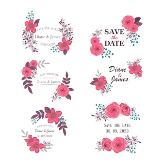Set of flowery for wedding invitation design