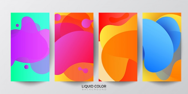 Set of fluid abstract shapes composition banners.
