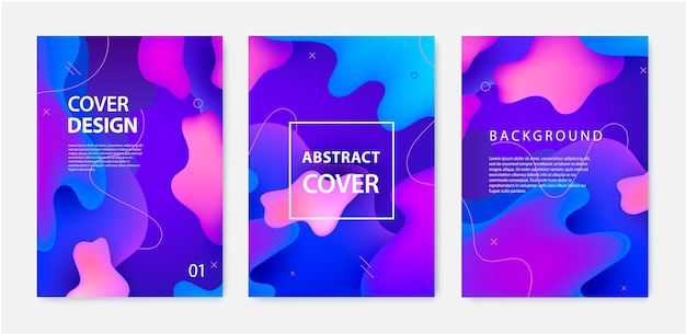 Set of fluid banners, covers, flyers, brochures. dynamic 3d shapes background.