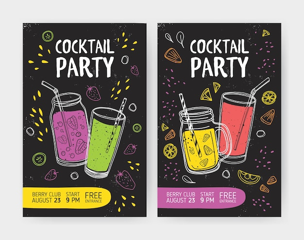 Set of flyer or cocktail party invitation templates with tasty soft drinks or refreshing tropical fruit beverages in jars and glasses with straws.