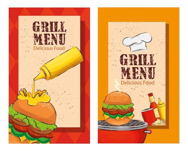 Set flyer of grill menu with delicious burgers