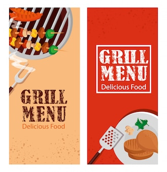 Set flyer of grill menu with delicious food