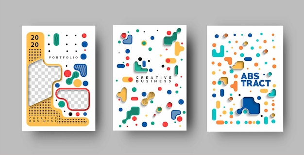 Set of flyer and poster cover design in a4 size template illustration.