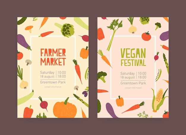 Set of flyer templates for farmer market and vegan food festival with vegetables and place for text