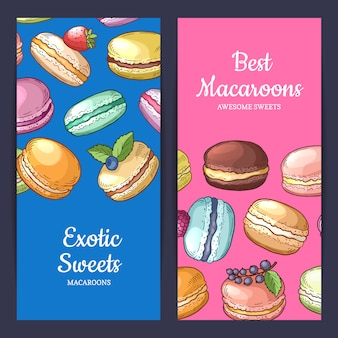 Set of flyer templates with place for text and colored hand drawn macaroons illustration