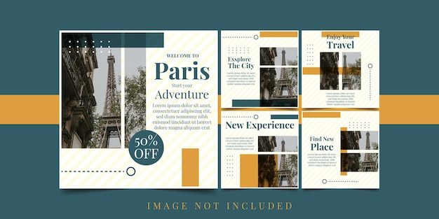 Установить флаер добро пожаловать в париж дизайн шаблона иллюстрации