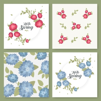 A set of flyers, brochures, templates design. vintage cards with flower patterns and ornaments. floral decorations, leaves, flower ornaments. spring or summer banners vector.