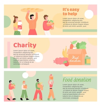 Set of flyers for charity and food donation events, flat vector illustration isolated. promotion for volunteer organization to provide help for people in need.