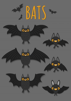 Set of flying bats with different shapes.